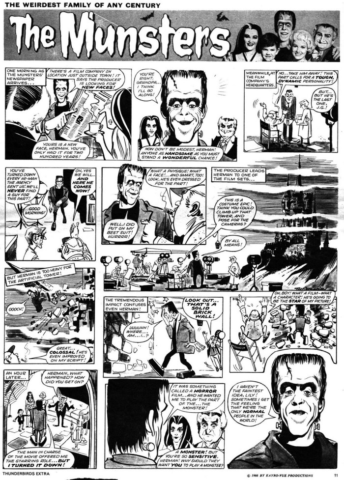 """""""The Munsters"""" as featured in British comic TV Century 21"""