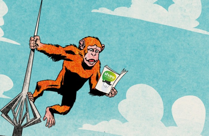 Comics Salopia Festival icon, Charlie the ape, this illustration by Charlie Adlard and Dan Berry