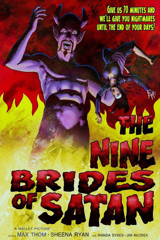 "Mallet Productions ""The Nine Brides of Satan"" film poster, courtesy collector Carl Feringo"