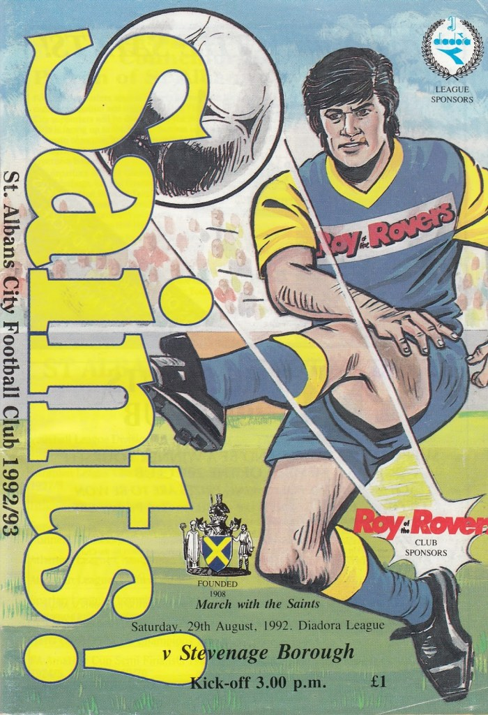 St Albans Football Club Programme - Saturday 29th August 1992