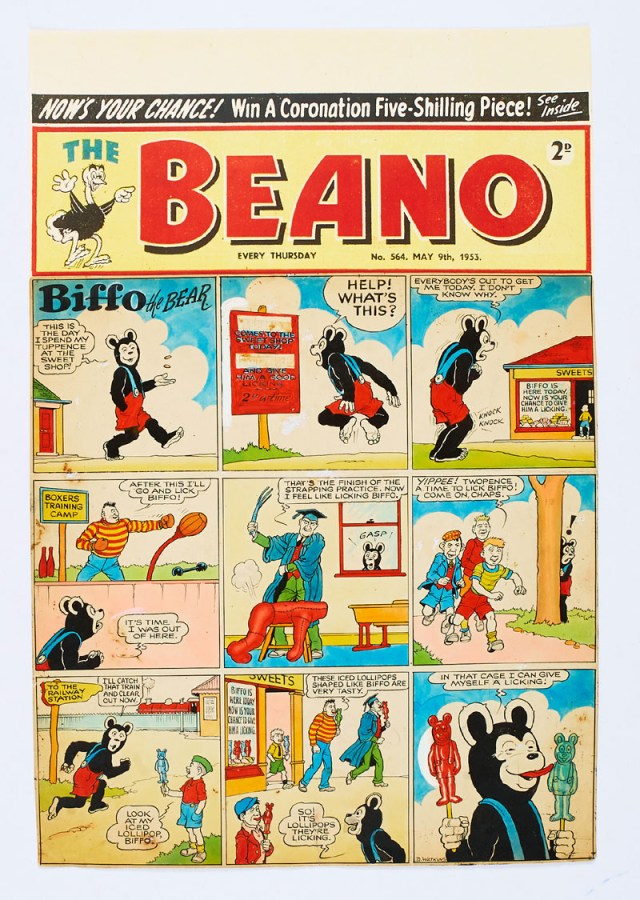 Beano/Biffo the Bear original front cover artwork (1953) drawn, painted and signed by Dudley Watkins for The Beano No 564 cover dated 9th May 1953. Biffo is upset that everyone wants to give him a good licking but they're all after Biffo shaped lollipops! (Poster colour and Indian ink on cartridge paper. 1½ ins sealed tear to lower margin. 20 x 14 ins. 'The Beano' header is a laser colour copy)