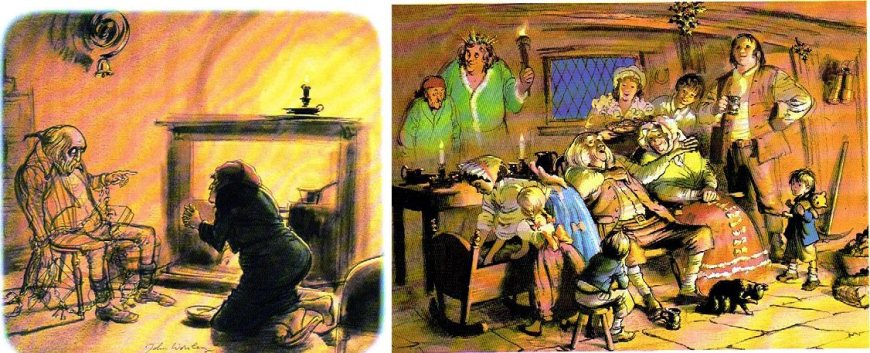 "Some of John Worsley's illustrations for ""A Christmas Caro"" used to illustrate its telling on Anglia TV, broadcast in 1970, available on DVD. The illustrations were also used in a book and you could see that he had drawn street scenes with rather strange perspectives so that the camera could pan across as the story was read."