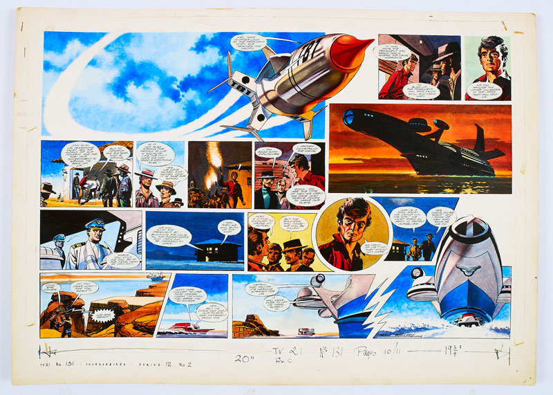 Thunderbirds original double-page artworkdrawn, painted and signed by Frank Bellamy for TV Century 21 No 131, 1967. From the Bob Monkhouse Archive. Fearing a rebel attack on the President super-ship Thunderbirds 1 keeps station but a rogue tanker is on collision course… (Bright Pelikan inks on board. 28 x 20 ins)