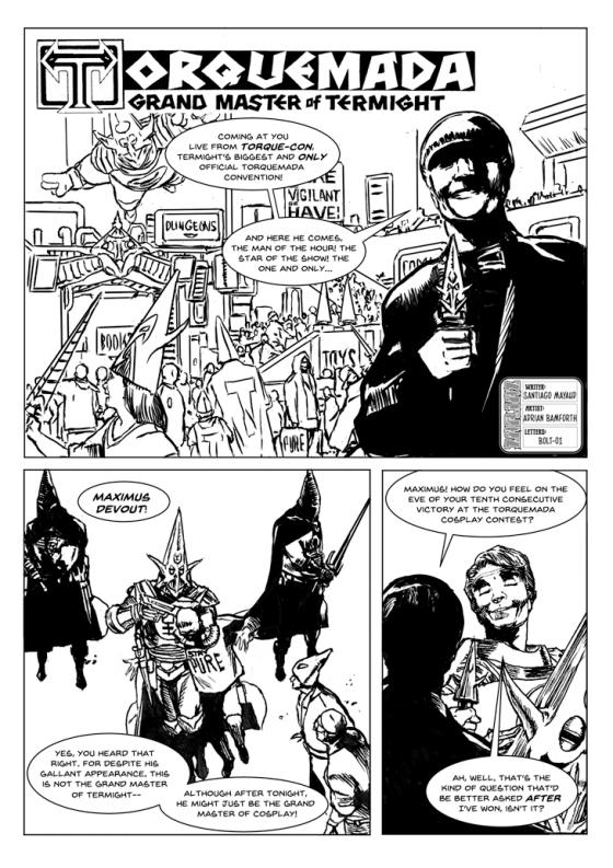 Torquemada- Trashquemada by writer Santiago Mayaud and artist Adrian Bamforth. Letters by Adrian Bamforth