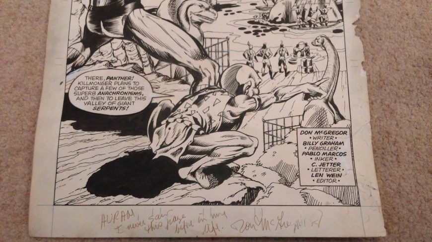 Writer of Jungle Action Don McGregor has also signed the artwork, presumably for a buyer of the page at a later date