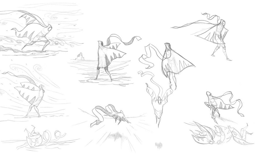 Character sketches, Journey™ ©2012, 2014 Sony Interactive Entertainment LLC. Journey is a trademark of Sony Interactive Entertainment LLC. Developed by Thatgamecompany