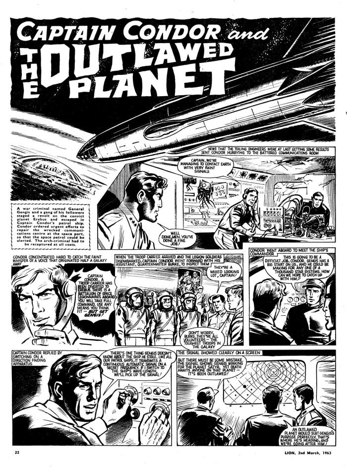 "A page from ""Captain Condor and the Outlawed Planet"", published in 1963. Art by Leslie Waller. With thanks to Philip Rushton‎"
