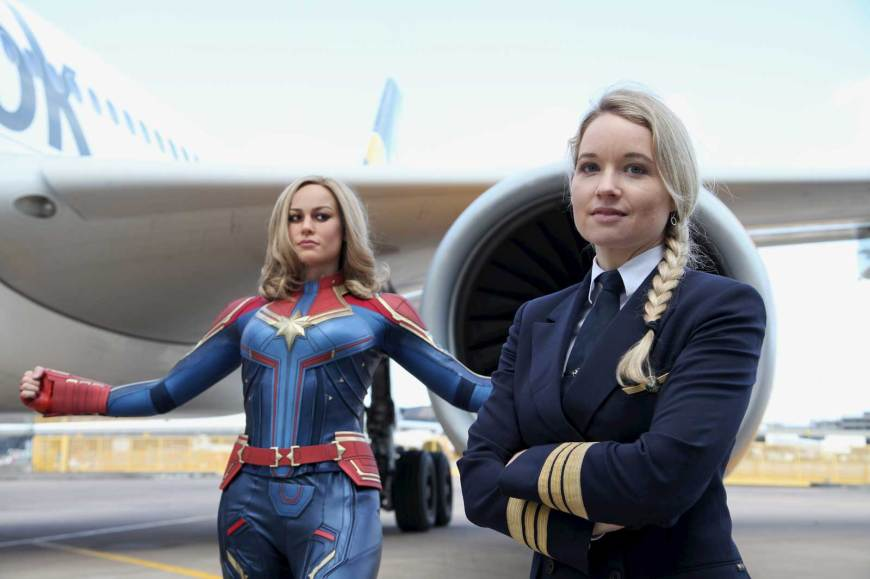The new Madame Tussauds Blackpool Captain Marvel figure and Thomas Cook Airlines pilot Astrid Herz