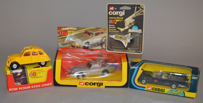 Corgi James Bond and Batmobile toys