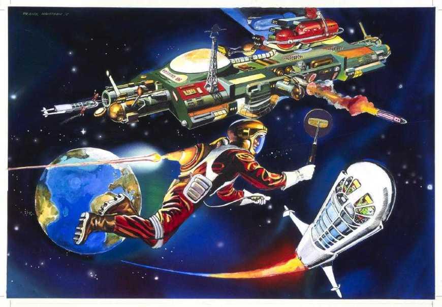 """Satellite Control"" - cover art by Frank Hampson for Grande Enciclopedia della Fantascienza N.54, published by Editoriale Del Drago in 1981"