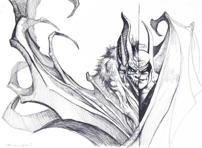 "Preliminary study done by John Bolton for the cover of the ""Batman: Manbat"" collection of the namesake miniseries, published by DC in 1997"
