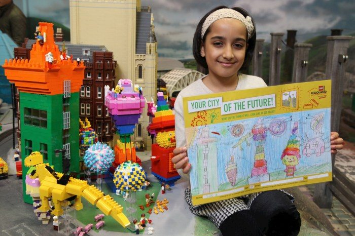 "Saira Ali with her winning entry in a nationwide ""Cities of the Future"" competition, which been brought to life in a giant LEGO model, built by a Master Model Builder."