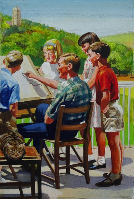 """Peter and Jane watch the artist"" - an illustration by Frank Hampson from the Ladybird Key Words Scheme book 5b, ""Out in the Sun"". Courtesy Peter Hampson"
