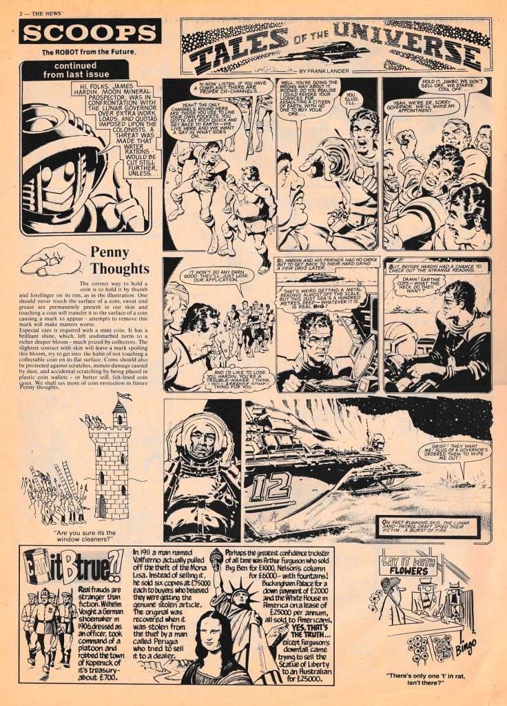 "Art on this page of SCOOPs Issue 2 (1st September 1982) by Ron Smith; ""Can it Be True"" art by David Pugh; cartoon by ""Bingo"""