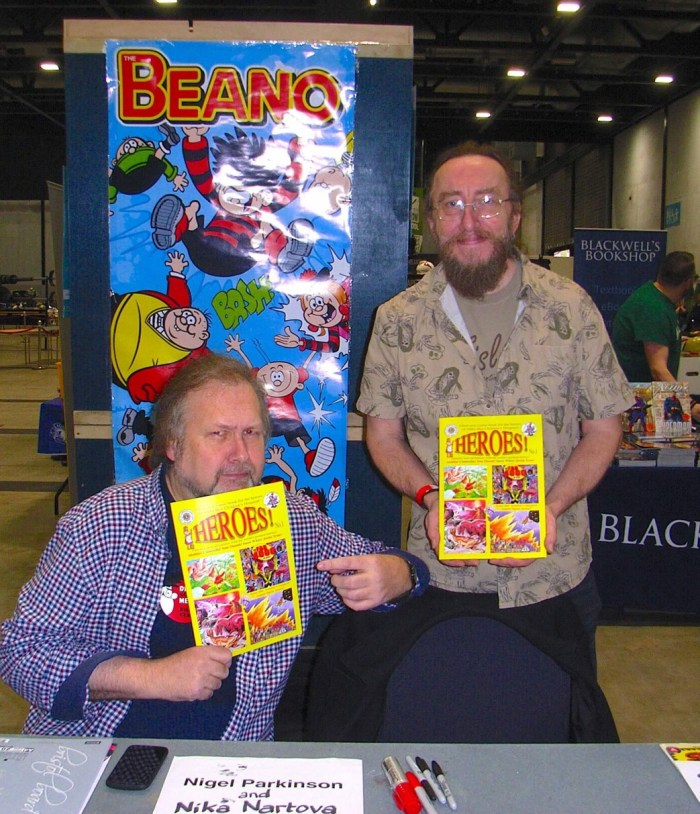 Comic artists Nigel Parkinson and Dave Taylor were also drawn into happily promoting Heroes! at Liverpool Comic Con
