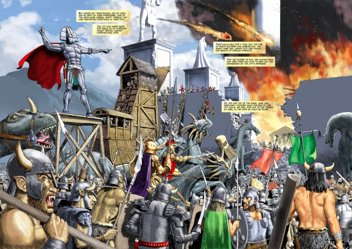 A magnificent double page spread from Age of Heroes #4, drawn and coloured by John Ridgway