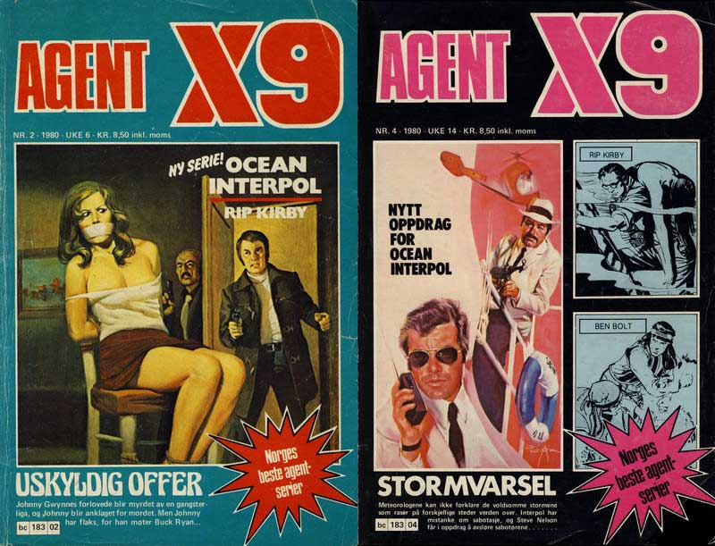 """Norway's Agent X9 #2 and #4 (1980), featuring """"Ocean Interpol"""""""