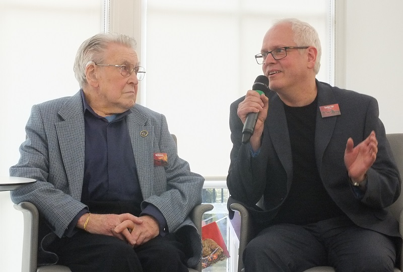 Ian Kennedy listens to book editor Gordon Tait during the interview