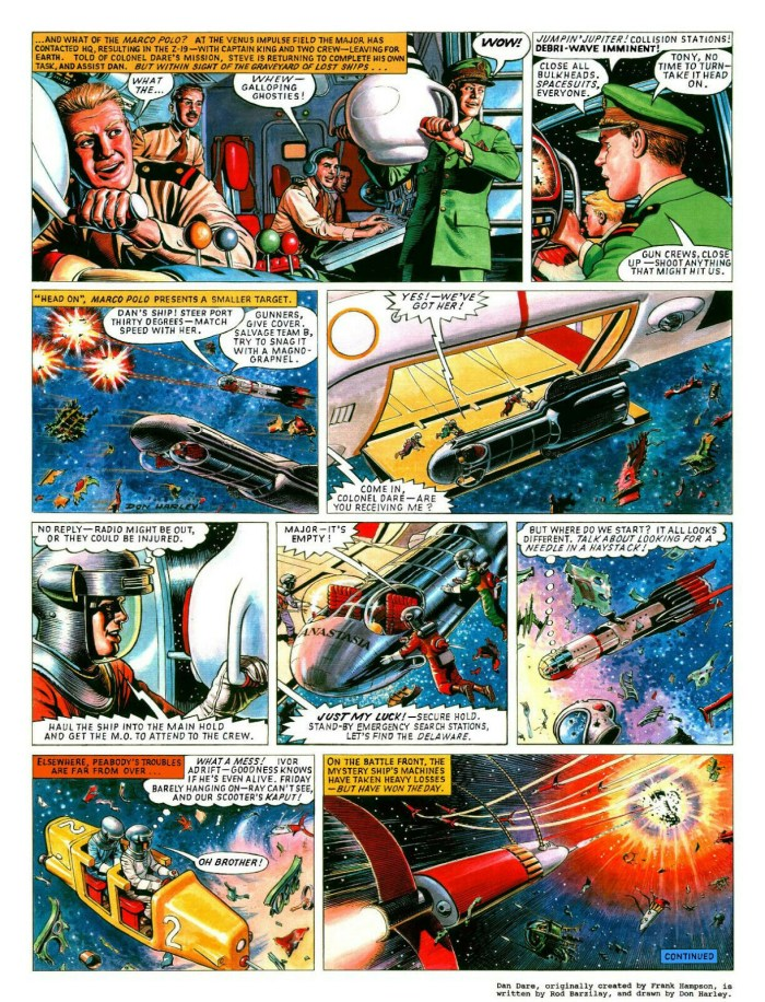 "Don Harley's original art 15 x 20 inches of Eagle's Dan Dare, from the Dan Dare story ""The Phoenix Mission"" published in Spaceship Away Issue 3."