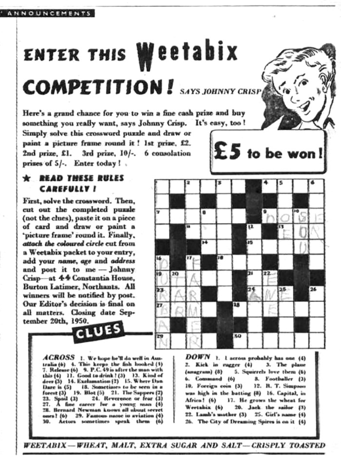 The Eagle - Weetabix Competition as it appeared in Eagle Volume One No.22, cover dated 8th September 1950