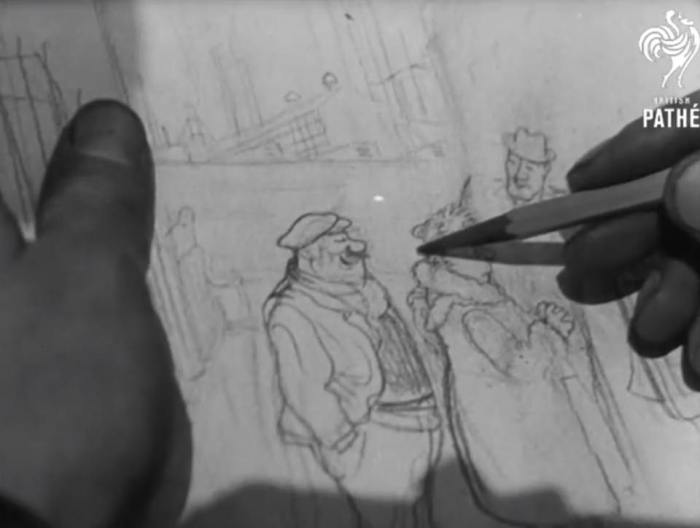 Carl Giles at work in his garden in 1945, filmed by British Pathé