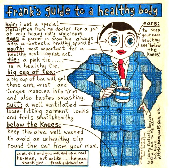 Oink Issue 41 featured Frank's Guide to a Healthy Body... sadly not maintained in real life as celebrity took him over
