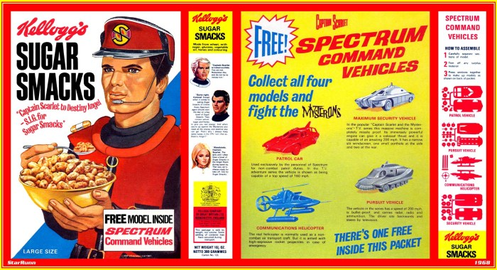 """1968 Sugar Smacks - Captain Scarlet packet via Andrew P. Yanchus. Another variation offered a comic strip drawn by """"Dan Dare"""" artist Keith Watson"""
