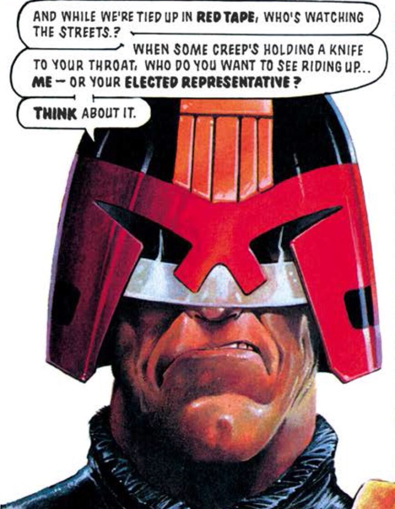 """Judge Dredd in the story """"The Devil You Know"""", featured in 2000AD Progs 750 - 753. Script by John Wagner, art by Jeff Anderson. The story is reprinted in Judge Dredd: The Complete Case Files Volume 16"""