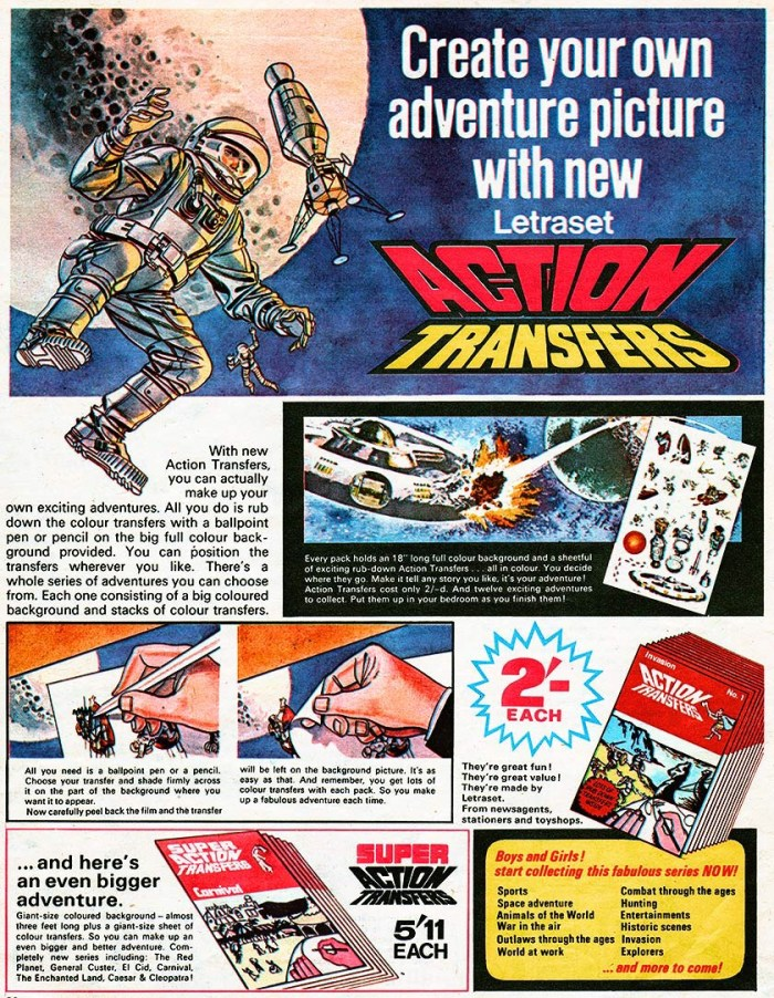 "1960s Letraset Action Transfers advertisement, featuring art by ""Thunderbirds"" artist Frank Bellamy. (Thanks to Lew Stringer for the attribution)"