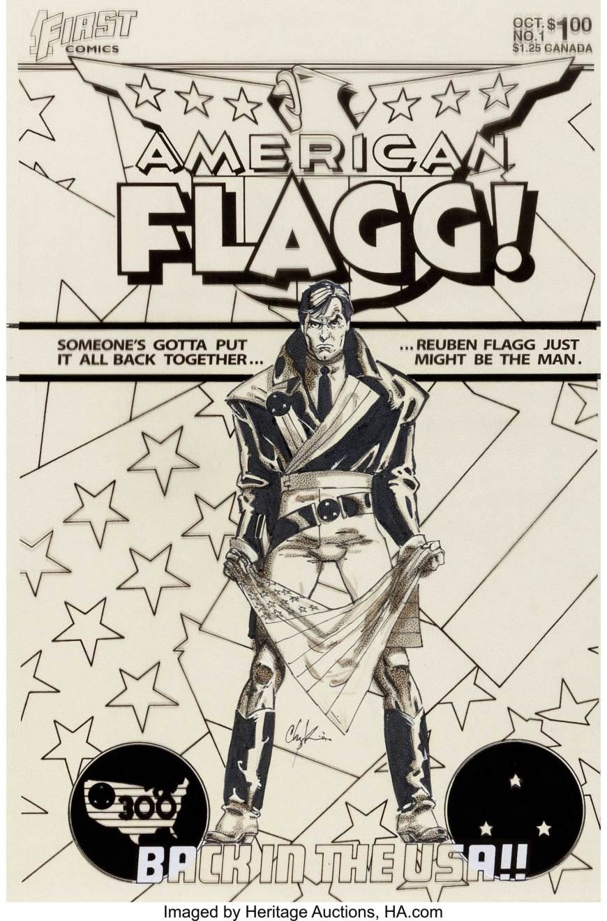 American Flagg! #1 Cover Original Art - Howard Chaykin