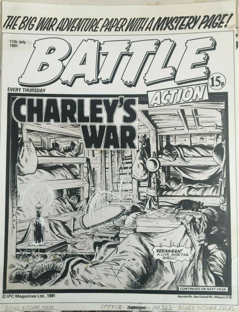"""A """"Charley's War"""" Battle cover from 1981, art by Joe Colquhoun, story by Pat Mills"""