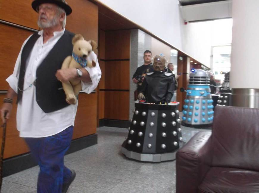 Daleks on parade at Capitol IV, led by actor Terry Molloy on the left. Photo: Ian Wheeler