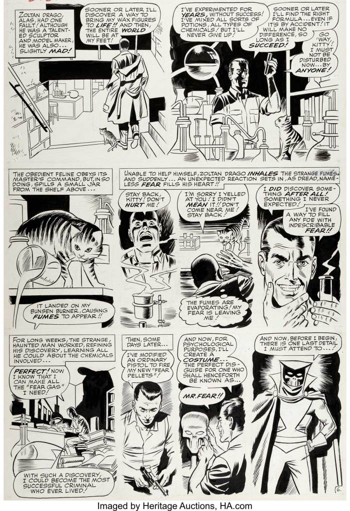 "Daredevil #6 Page 6 Original Art by Wally Wood (Marvel, 1965). An unusual origin story for this villain... Zoltan Drago, a wanna-be ""Puppet Master"", accidentally creates a ""Fear Gas"" and decides to become Mr. Fear. A nice capsulised one-page origin, as rendered by the awesome talents of Wally Wood"