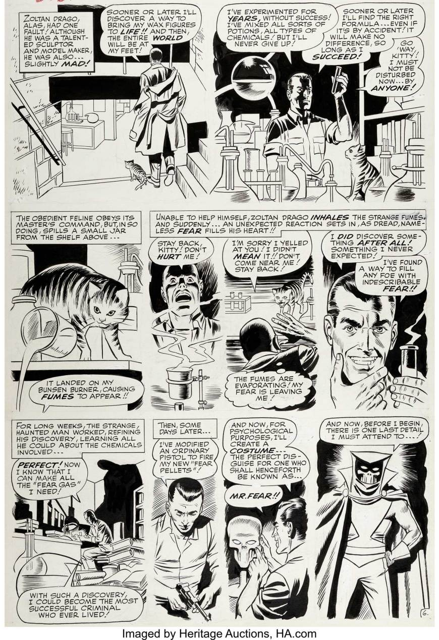 """Daredevil #6 Page 6 Original Art by Wally Wood (Marvel, 1965). An unusual origin story for this villain... Zoltan Drago, a wanna-be """"Puppet Master"""", accidentally creates a """"Fear Gas"""" and decides to become Mr. Fear. A nice capsulised one-page origin, as rendered by the awesome talents of Wally Wood"""
