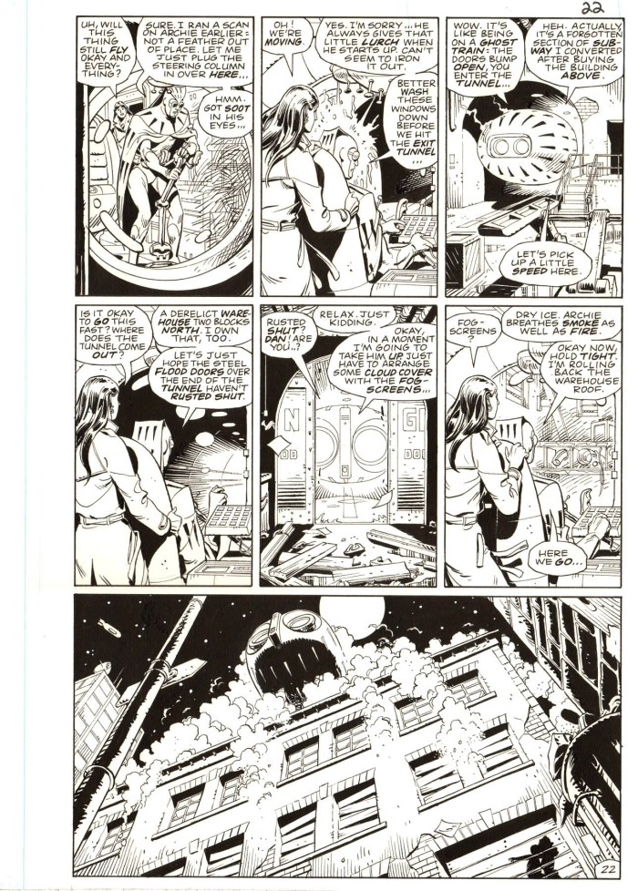 """Watchmen by writer Alan Moore and Dave Gibbons is widely considered to be the best superhero comic book series ever created and originals from the series are among the most desirable artwork of the era. Offered here is a memorable scene from #7 of the 12-part 1986 series. We see Nite Owl and Silk Spectre taking Nite Owl's Owlship, which he calls """"Archie"""" (short for Archimedes), out for its first ride in almost a decade since the Keene Act had outlawed superhero activity. It is a significant moment in the series and a memorable scene."""