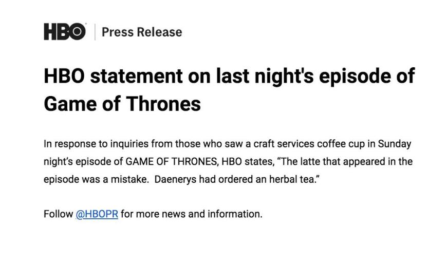 HBO statement in response to the appearance of a rogue coffee cup on Game of Thrones - The Last of the Starks