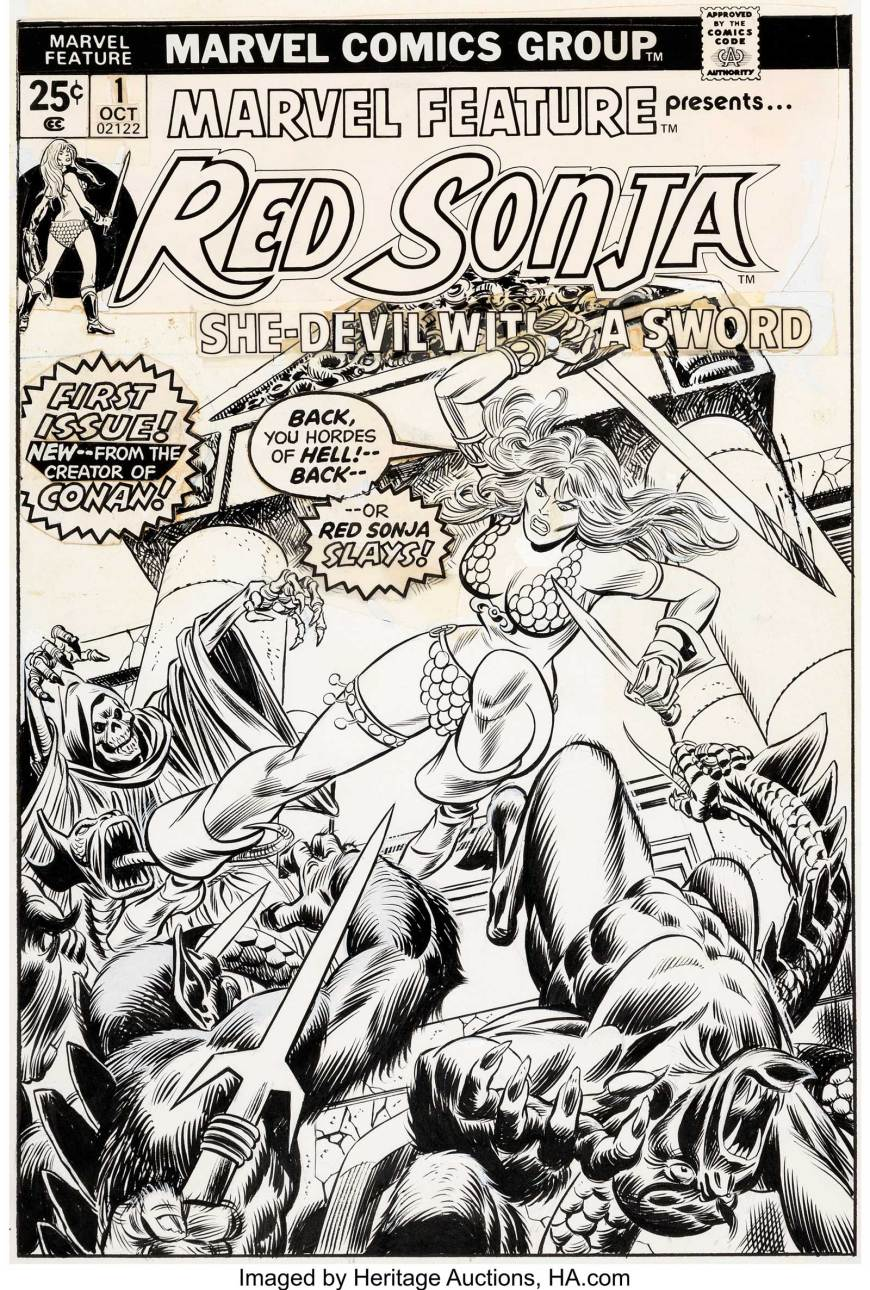 Marvel Feature V2 #1 Cover Red Sonja Original Art by Gil Kane and John Romita Sr. (Marvel, 1975)