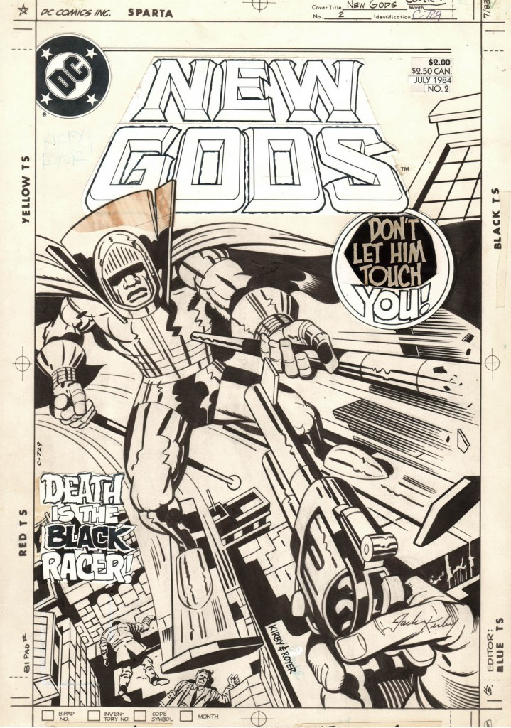 "Jack Kirby returned to his epic New Gods feature in 1984 when DC repackaged his original 11 issues from 1971-1973 as a deluxe six-issue mini-series with new covers by Kirby. This cover to New Gods #2 (1984) covered the reprinting of the original issues #3 and #4, which included #3's introduction of the Black Racer, one of the DC Universe's versions of ""Death"". Kirby took inspiration from his own earlier creation, Marvel's Silver Surfer to create the Black Racer. Instead of a surf board, the Racer is on skis. On this cover art, we see a large image of the Racer coming right at the reader--it's pure Kirby magic showing that even toward the end of his legendary career, the King was still at the top of his field."