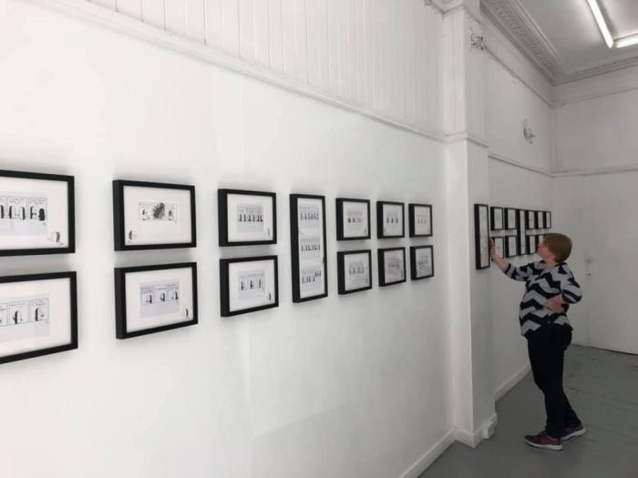 Penned Guin on display at the Whitespace Gallery, Edinburgh. Photo courtesy Alan Henderson