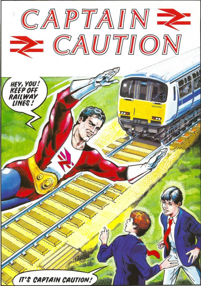 "British Rail's ""Captain Caution"" appeared in a railway safety leaflet released in 1985. Art by Ron Smith"