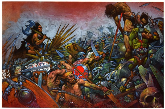 Simon Bisley illustrated this sensational Slaine illustration in mixed media on heavy illustration paper. This colourful example of Bisley's work features a highly detailed battle scene. This large piece looks amazing in person.