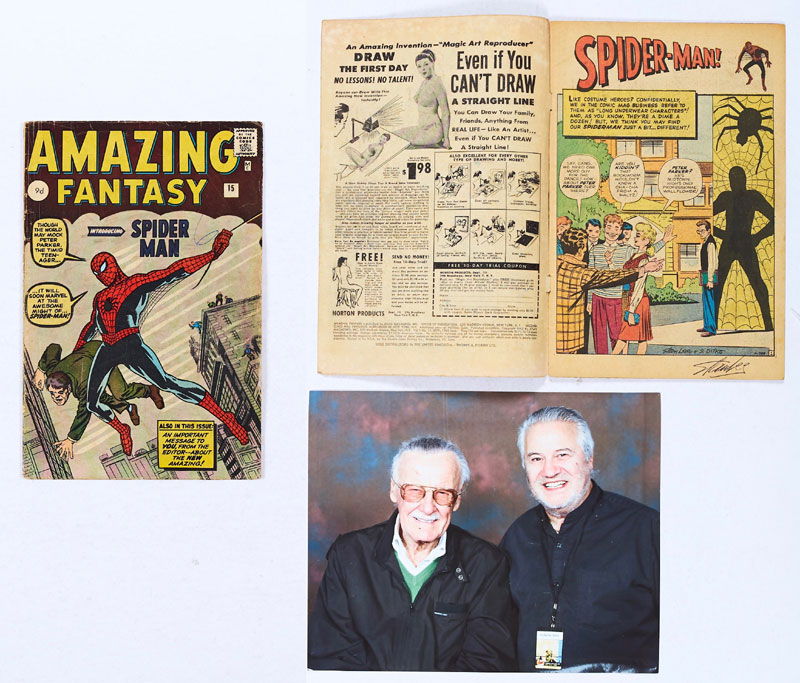 Amazing Fantasy 15 (1962) with Stan Lee signature to splash page margin and photograph of original owner with Stan Lee at Excel Centre Comic Con Sunday Feb 16th 2012 where the comic was signed Good cover gloss, Biro '6' to cover and light blue colour touch to Spider-Man's eyes, villain's eyes and ankle sock. 1 inch margin tear to page 25
