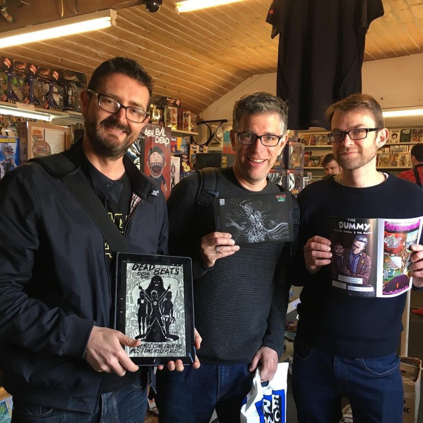 Bad Vibes Monthly gets its launch at Bath Comics on Free Comic Book Day 2019. Pictured, left to right: Andrew Richmond, Daniel Whiston and Michael Powell