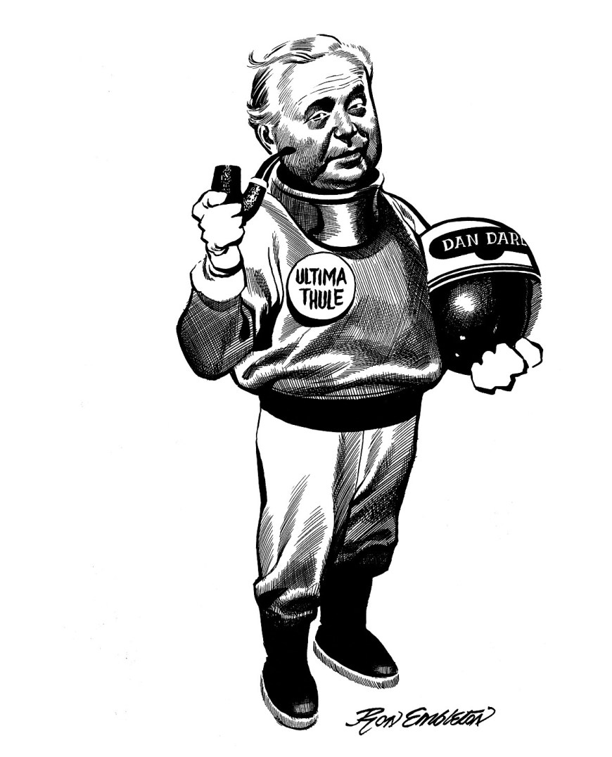The cover of the 1969 zine Ultima Thule by Ron Embleton, portraying then Prime Minister Harold Wilson as an astronaut