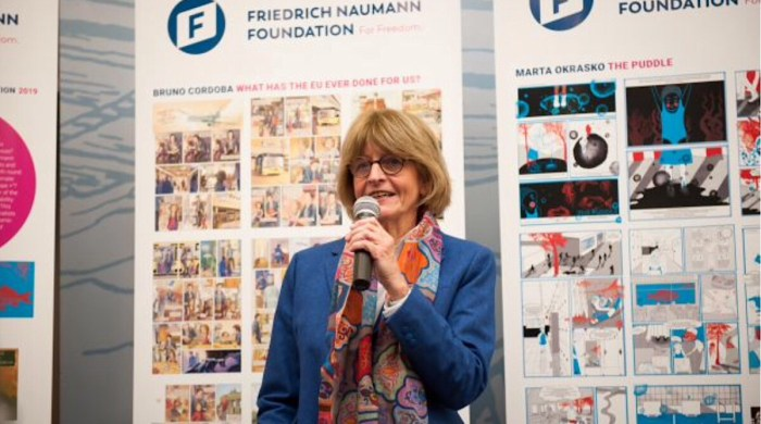"Anne Brasseur, speaking at the award ceremony for ""Europe+. Photo: Felix Kindermann"