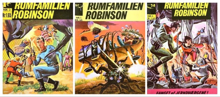 Covers for Denmark's Rumfamilien Robinson, published in the 1960s