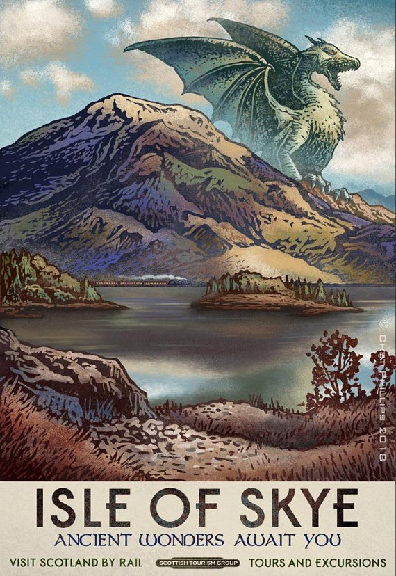 Fantasy Travel Postcard Set by Chet Phillips - Skye