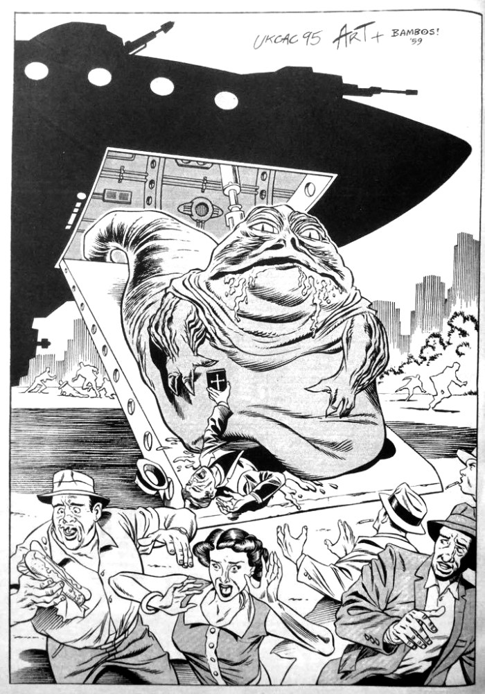 Jabba the Hutt by Art Wetherell, inked by Bambos Georgiou, for the UKCAC book, 1995. With thanks to Reuben Wilmott