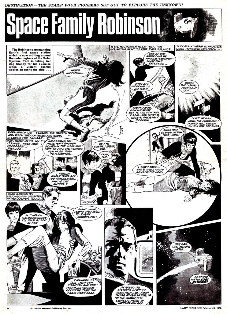 """An example of """"Space Family Robinson"""" from Lady Penelope comic, with art by John M. Burns. With thanks to Colin Brown"""