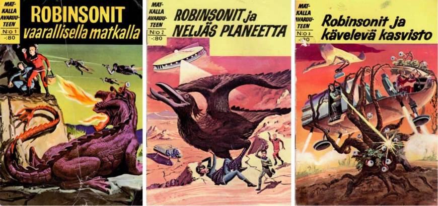 Covers for Finland's Matkalla avaruuteen (#1 - 3), launched in 1967